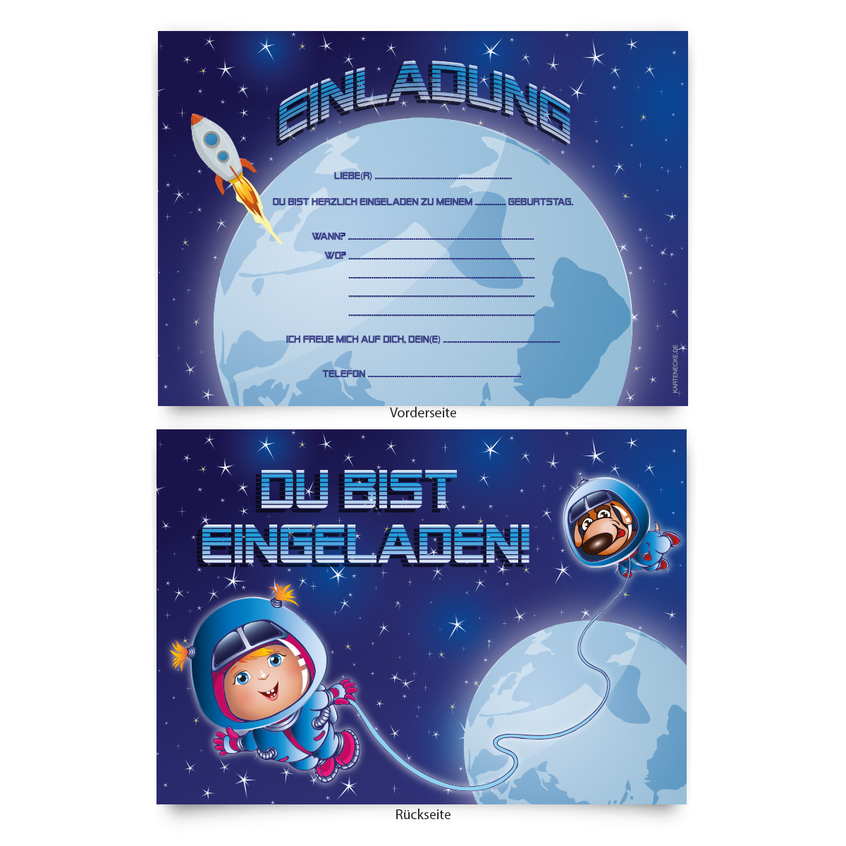 Einladungskarten (8 Stück) zum Ausfüllen für ...