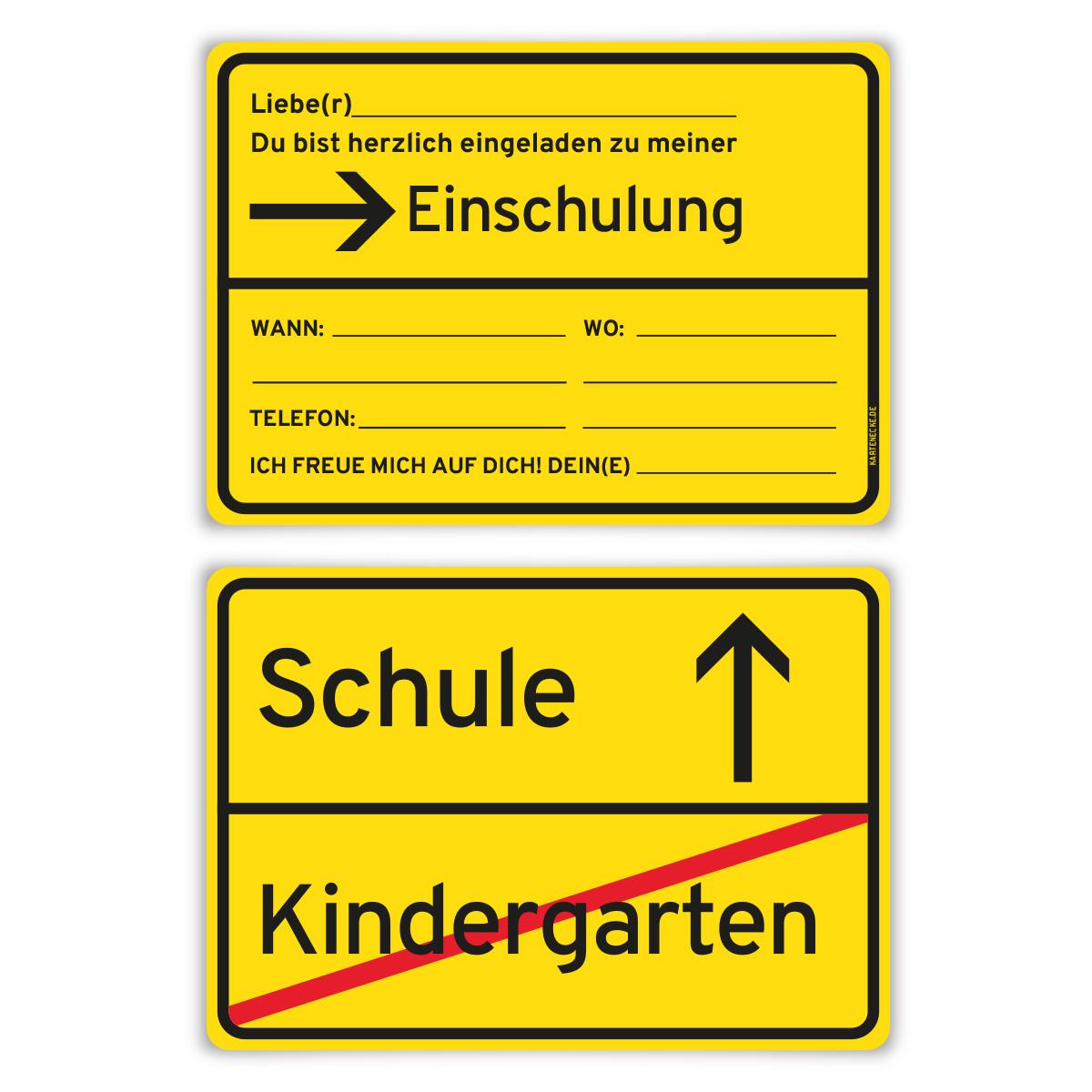 Einladungskarten Einschulung Schulanfang Jungen Mädchen 8 Stück   Ortsschild