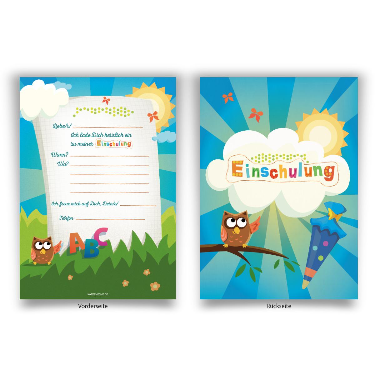 Einladungskarten (8 Stück) zur Einschulung Schule ...