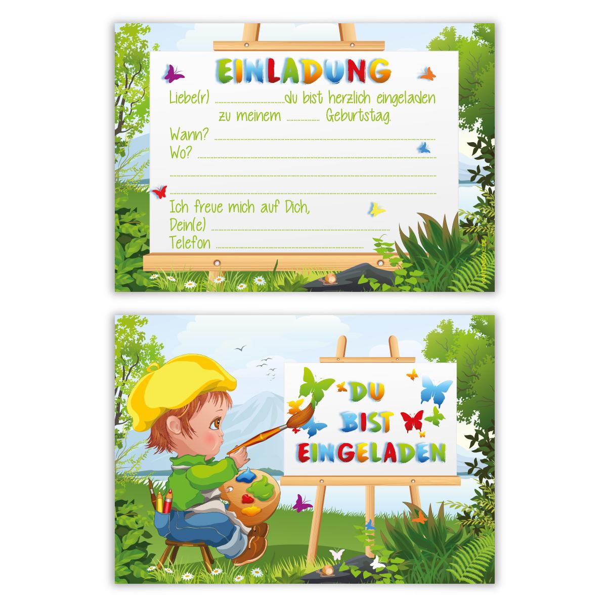 Einladungskarten Kindergeburtstag Jungen Mädchen 8 Stück Karten   Maler
