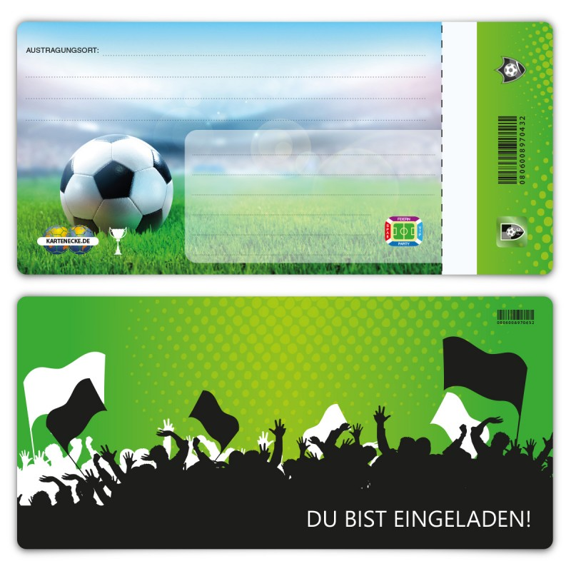 """Einladungen Erwachsene (12 Stück) """"Fußball Ticket Grün"""""""