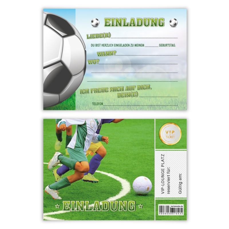 """Einladungen Kindergeburtstag (8 Stück) """"Fußballticket"""""""