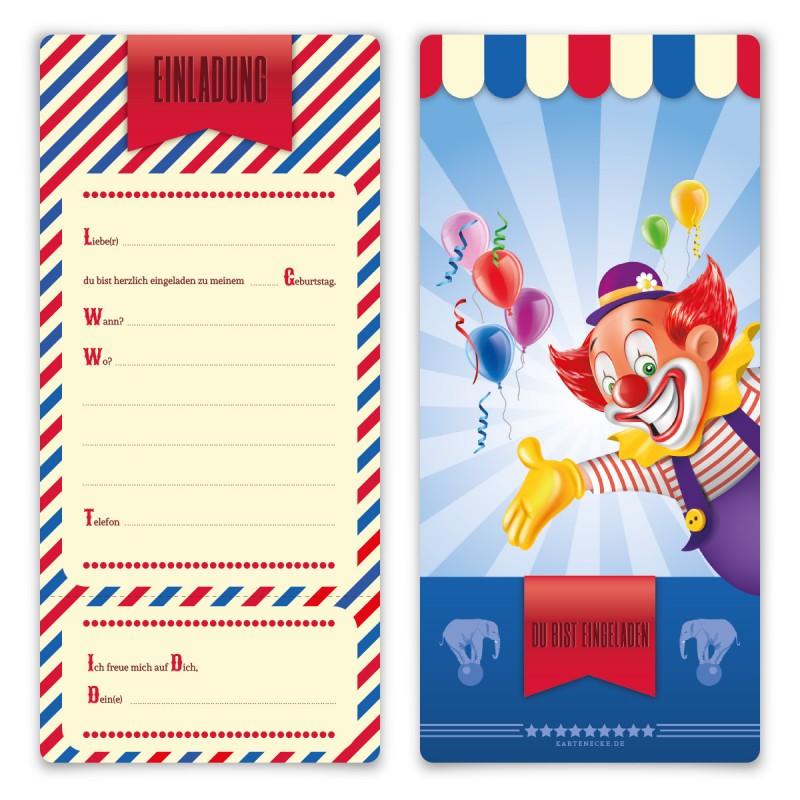 """Einladungen Kindergeburtstag (8 Stück) """"Zirkus Ticket"""""""