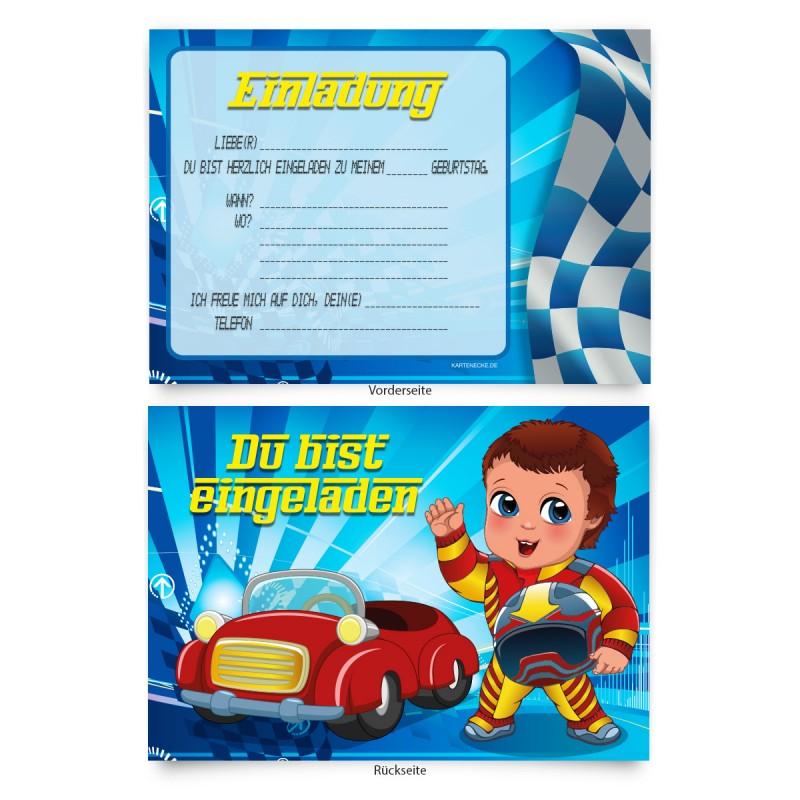 """Einladungen zum Geburtstag """"Rennfahrer"""""""