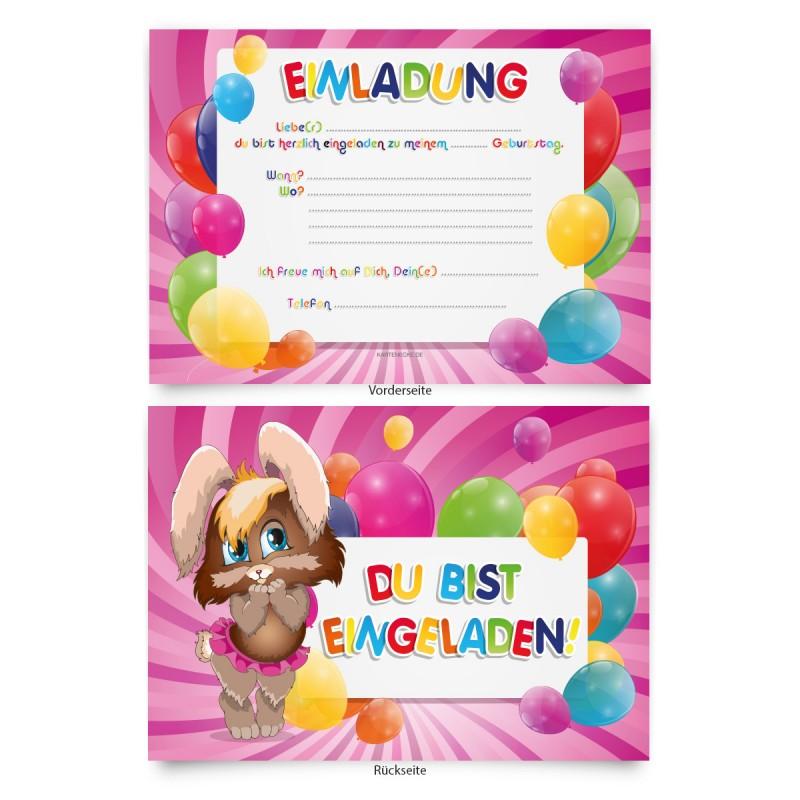 """Einladungen (8 Stück) zum Geburtstag """"Hase"""""""