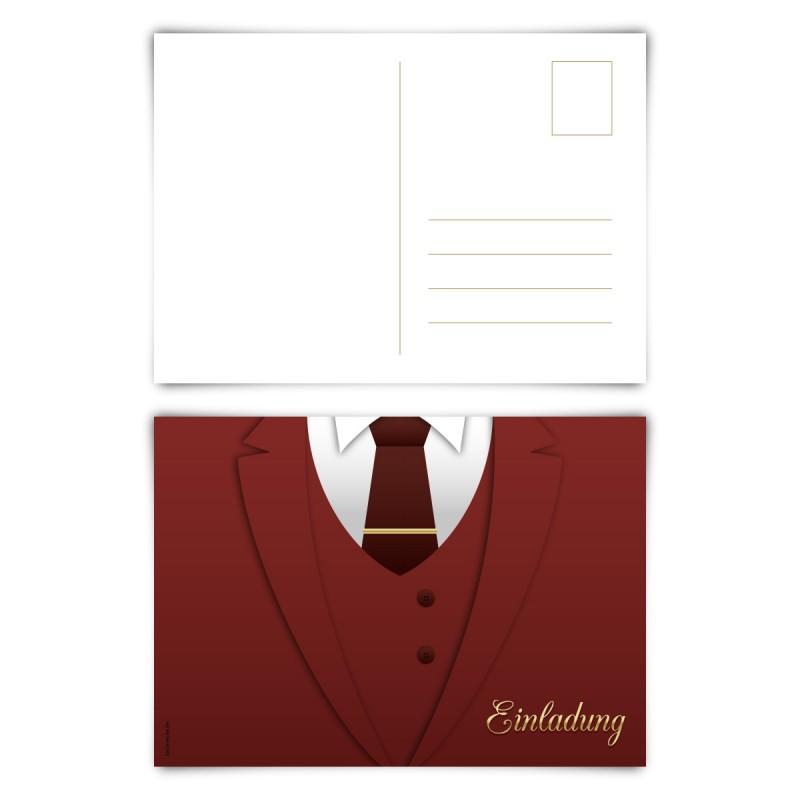"""Einladungskarten (12 Stück) """"Anzug"""" Postkarten"""