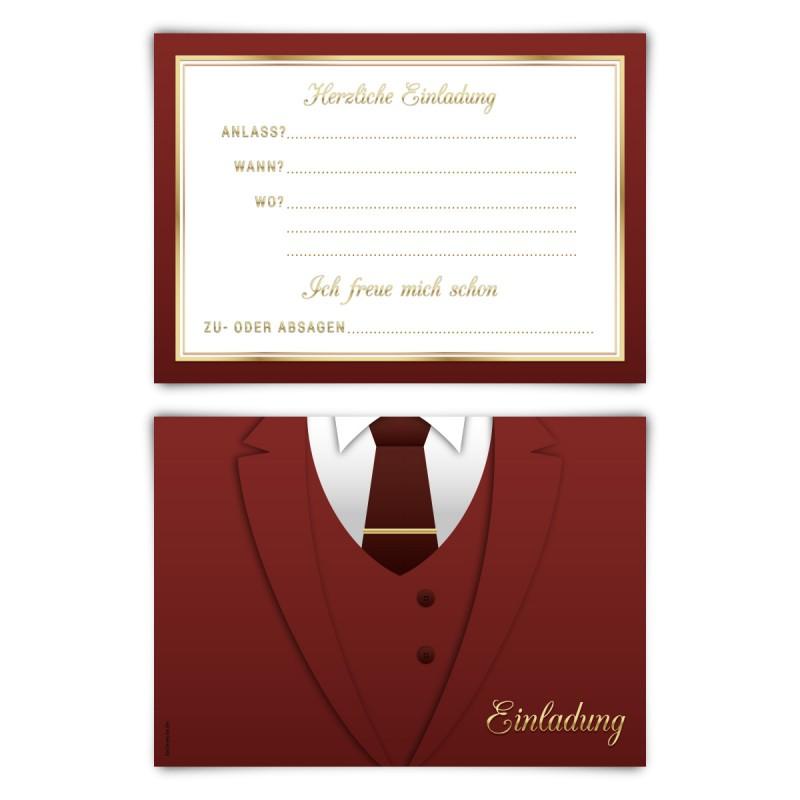 """Einladungskarten (12 Stück) """"Anzug"""" Vorausgefüllt"""