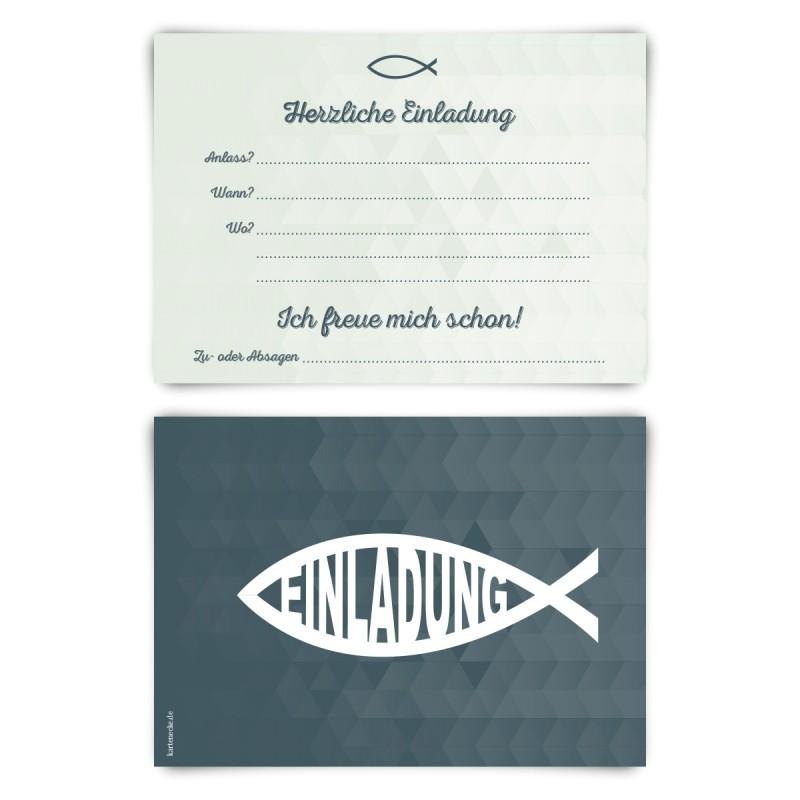 """Einladungskarten (12 Stück) """"Jesus Fisch"""" Vorausgefüllt"""