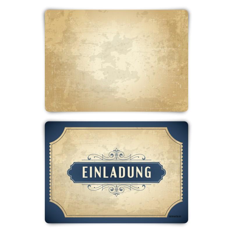 """Einladungskarten (12 Stück) """"Vintage Blau"""" Blanko Rückseite"""