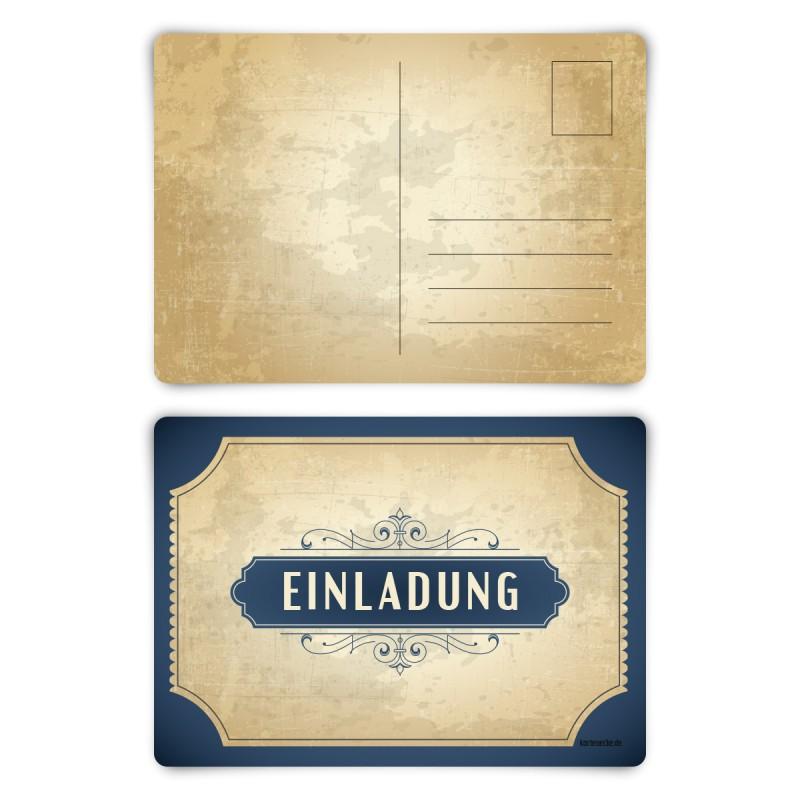 """Einladungskarten (12 Stück) """"Vintage Blau"""" Postkarten"""