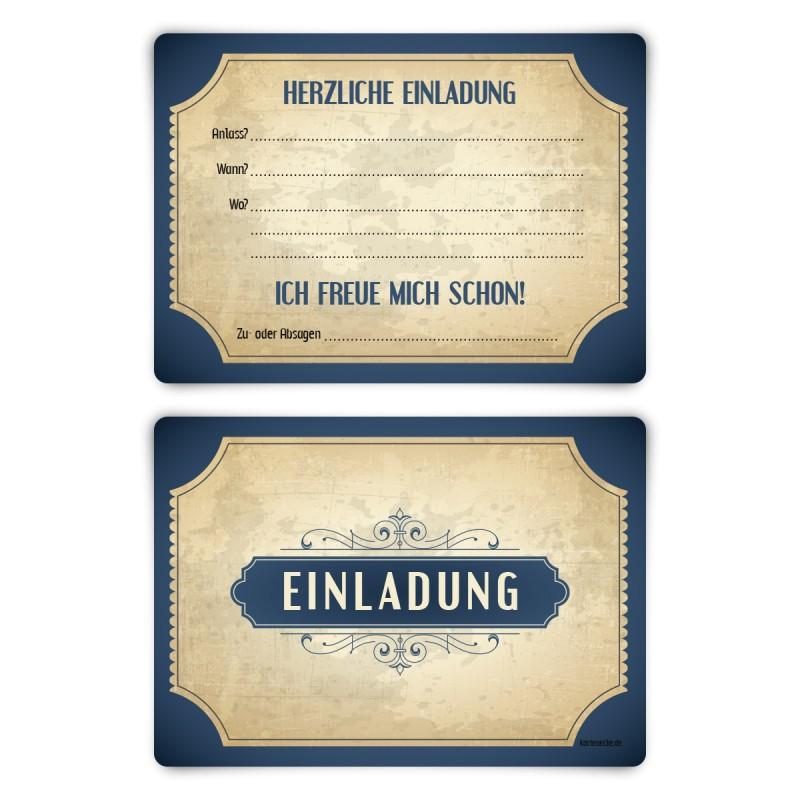 """Einladungskarten (12 Stück) """"Vintage Blau"""" Vorausgefüllt"""