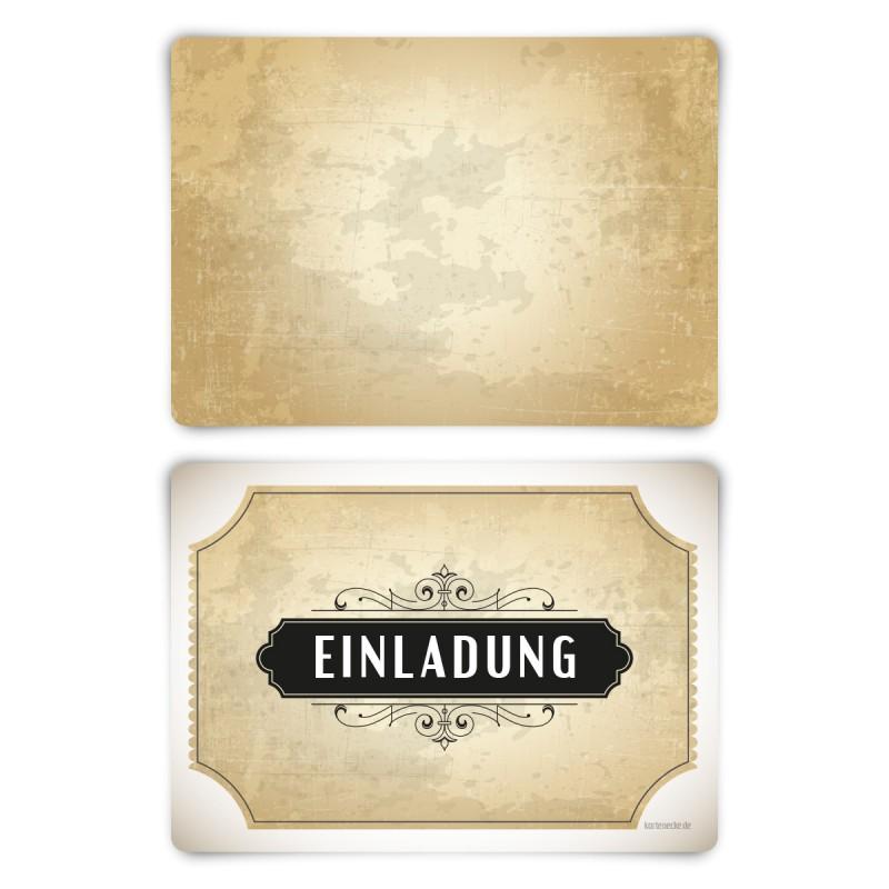 """Einladungskarten (12 Stück) """"Vintage Weiß"""" Blanko Rückseite"""