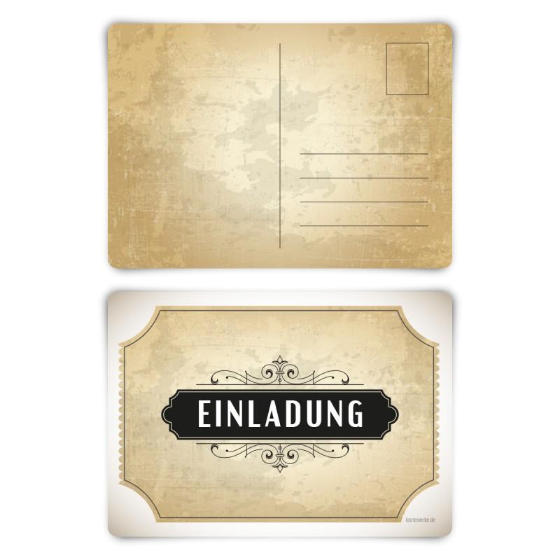 """Einladungskarten (12 Stück) """"Vintage Weiß"""" Postkarten"""