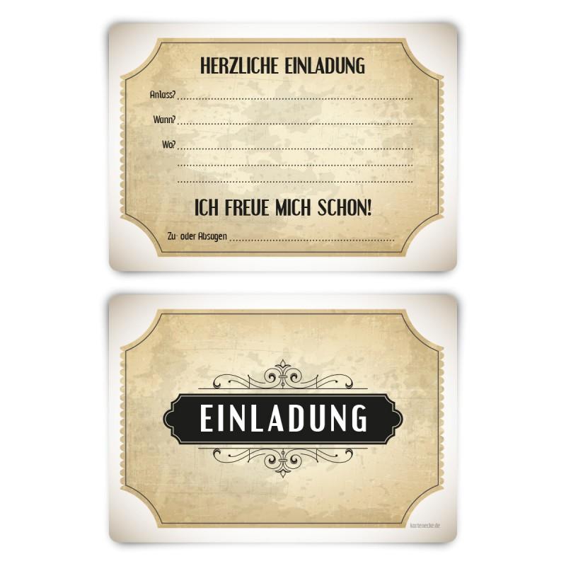 """Einladungskarten (12 Stück) """"Vintage Weiß"""" Vorausgefüllt"""