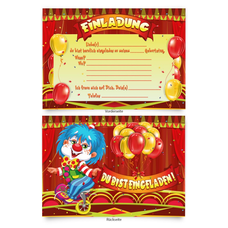 "Kinder Einladungen Geburtstag ""Zirkus"" Clown"
