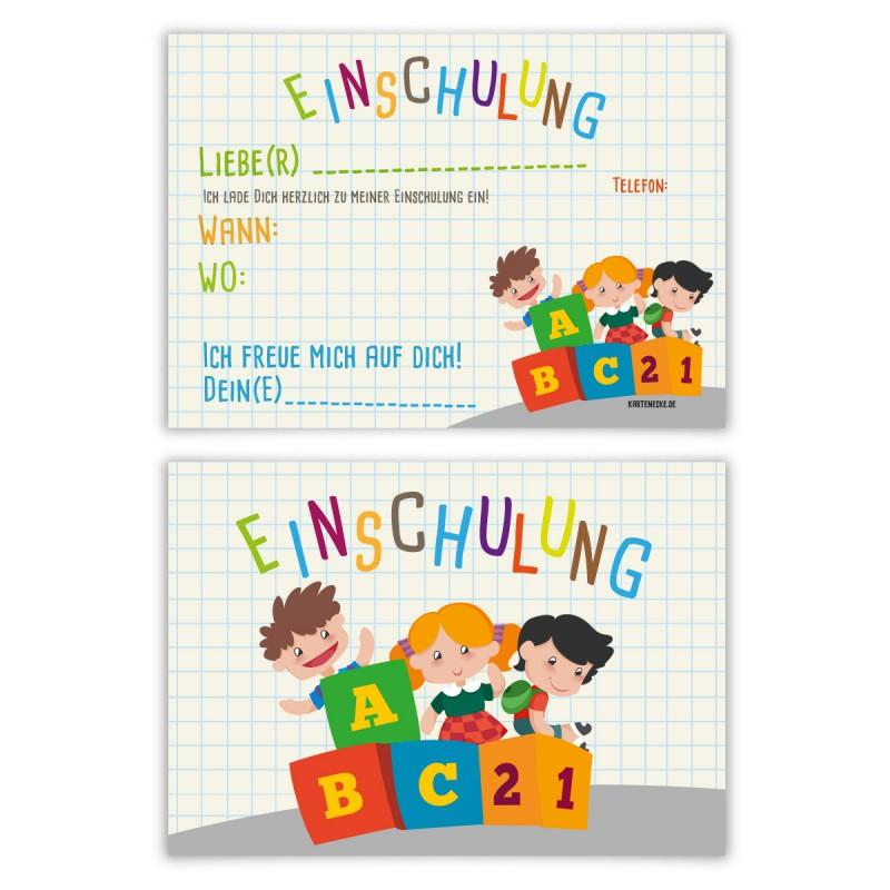 """Einladungskarten zur Einschulung (8 Stück) """"ABC mit Kindern"""""""