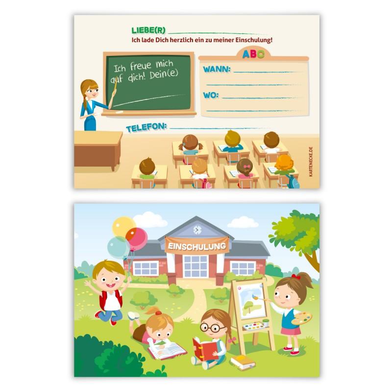 """Einladungskarten zur Einschulung (8 Stück) """"Klassenzimmer"""""""