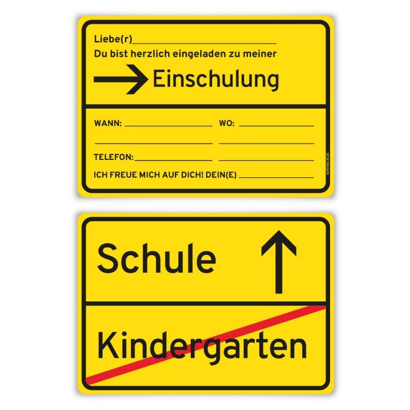 """Einladungskarten zur Einschulung (8 Stück) """"Ortsschild"""""""