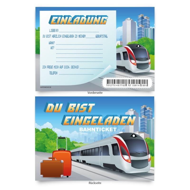 """Geburtstagskarten  zum Einladen """"Bahnticket"""""""