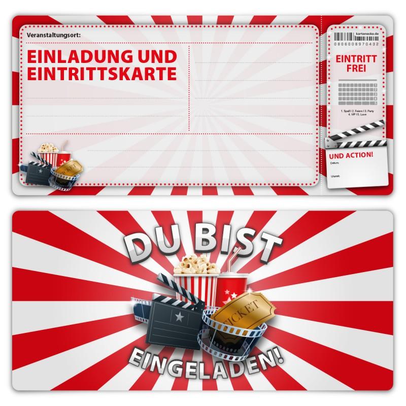 """Geburtsag Einladungskarten (12 Stück) """"Kino Ticket"""""""