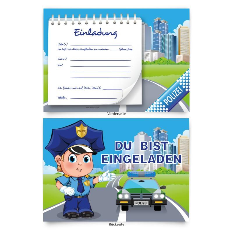 """Geburtstagseinladungen (8 Stück)  für Kinder """"Polizei"""""""