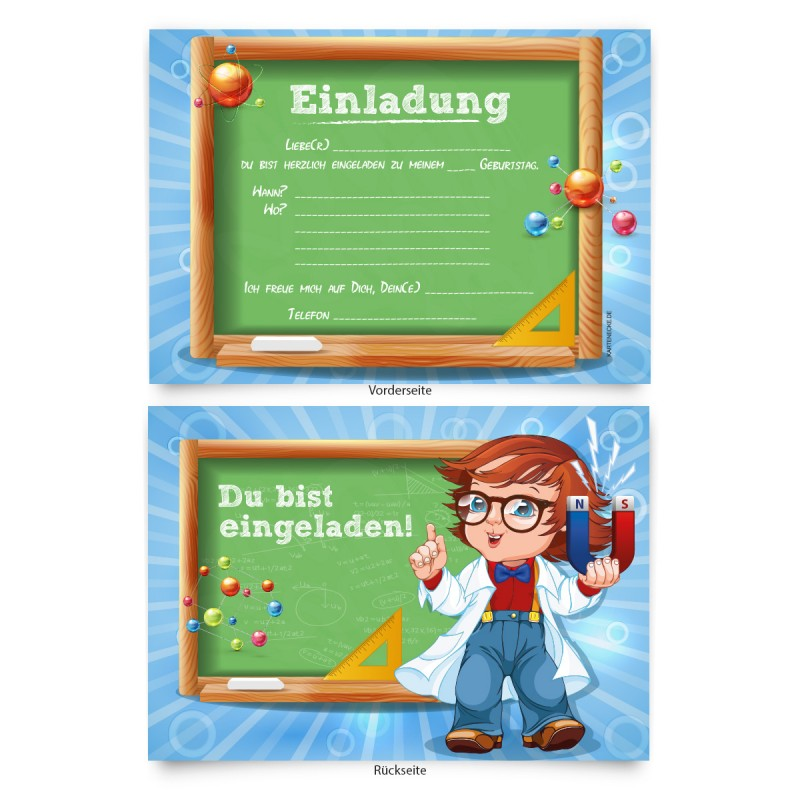 """Geburtstagskarten (8 Stück) zum Einladen """"Physik"""""""
