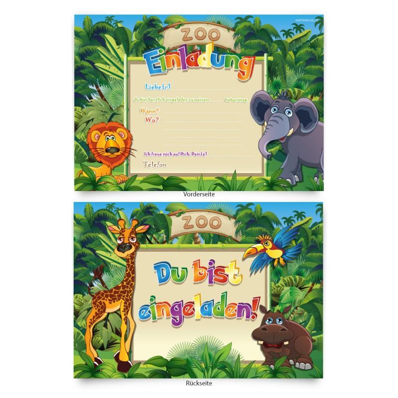 """Geburtstagskarten (8 Stück) zum Einladen """"Zoo"""""""