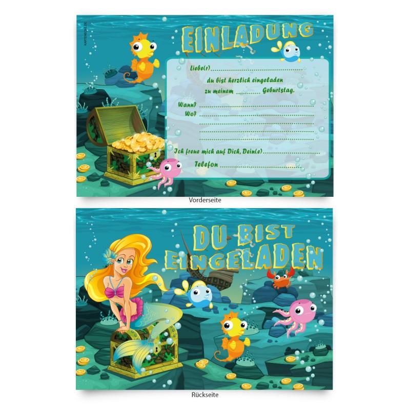 """Kinder Einladungen """"Meerjungfrau"""""""