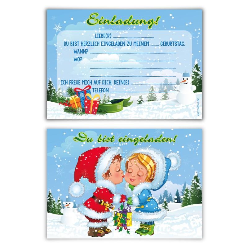 """Kindergeburtstagseinladungen (8 Stück) """"Weihnachtsgeschenk"""""""