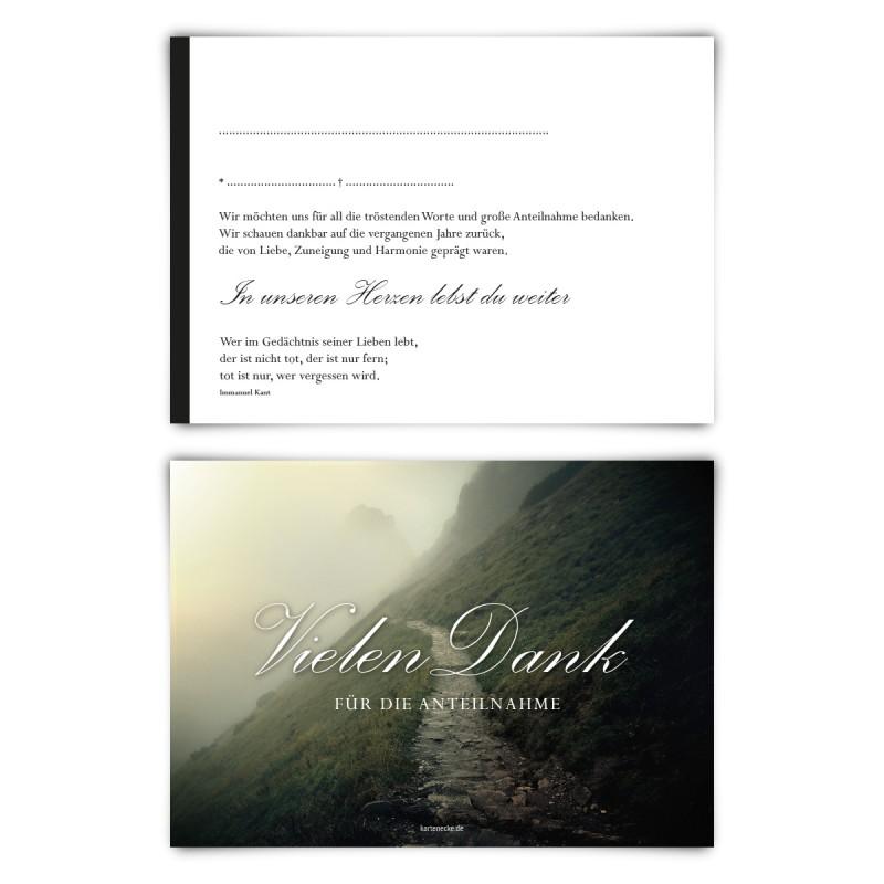 """Trauerkarten (12 Stück) """"Steiniger Weg"""" Vorausgefüllt"""