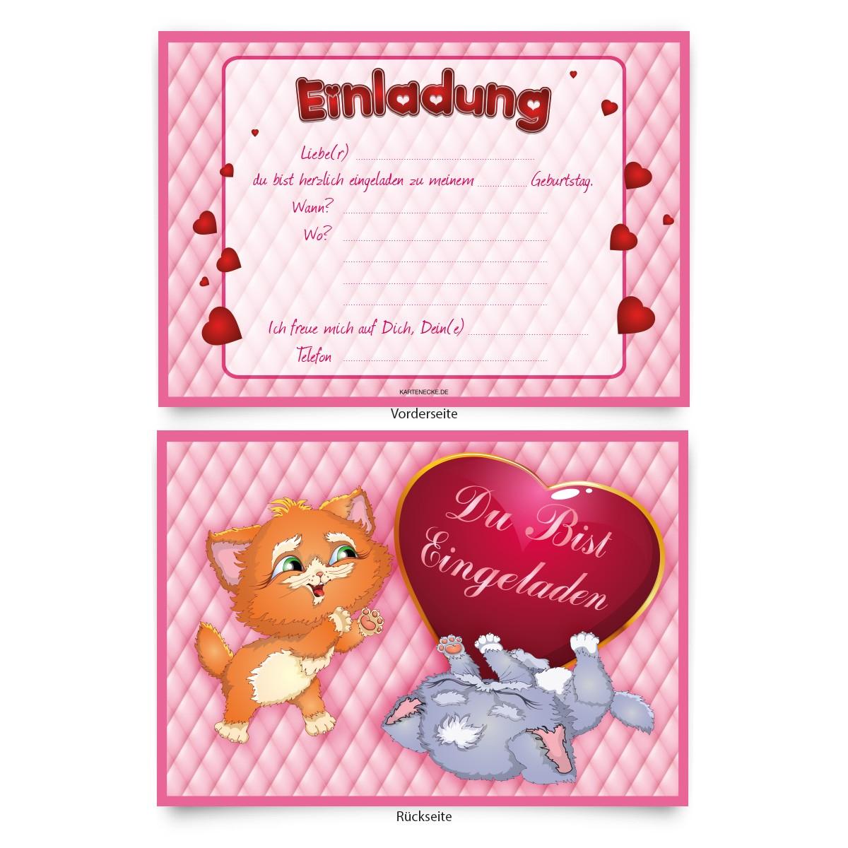 """katzen"""" einladungen zum geburtstag online bestellen! - kartenecke.de, Einladung"""