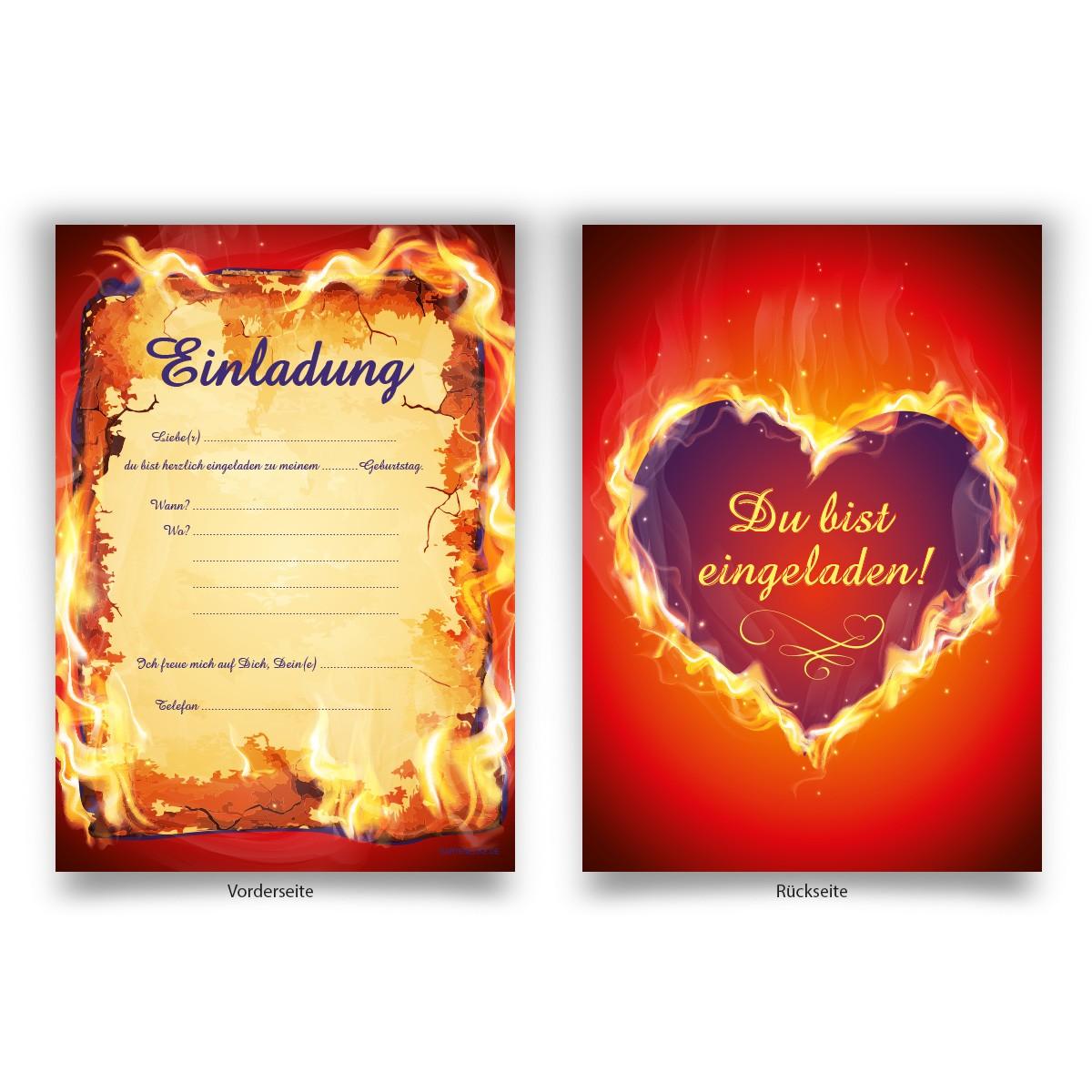 Brennendes Herz Einladungen Zum Geburtstag Online Bestellen