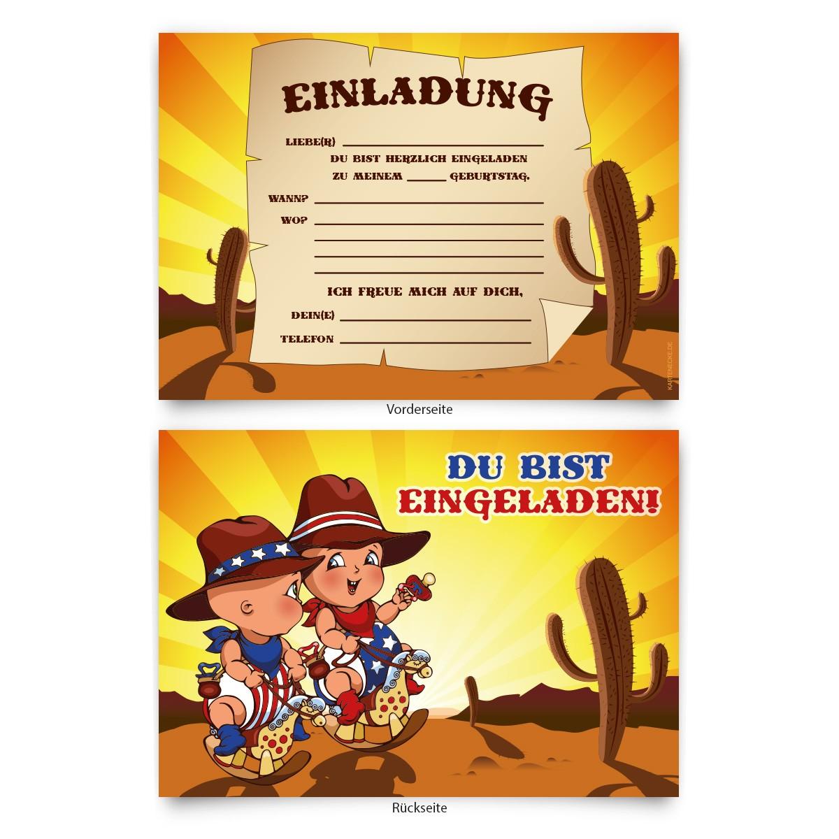 """""""Cowboy"""" Kindergeburtstag Einladungskarten online ..."""