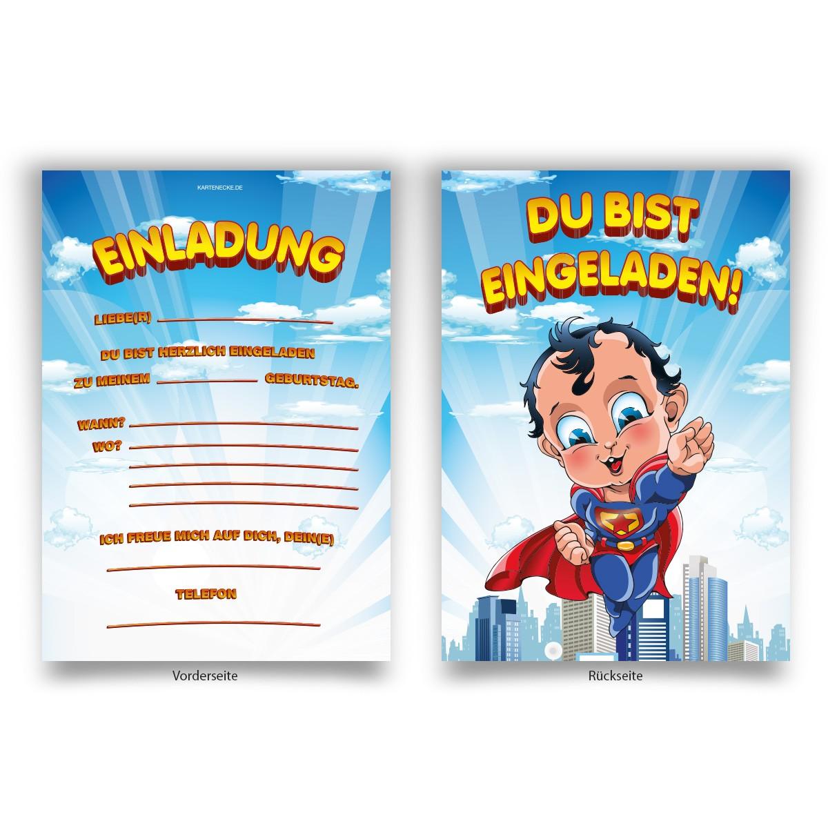 Einladungskarten Superhelden