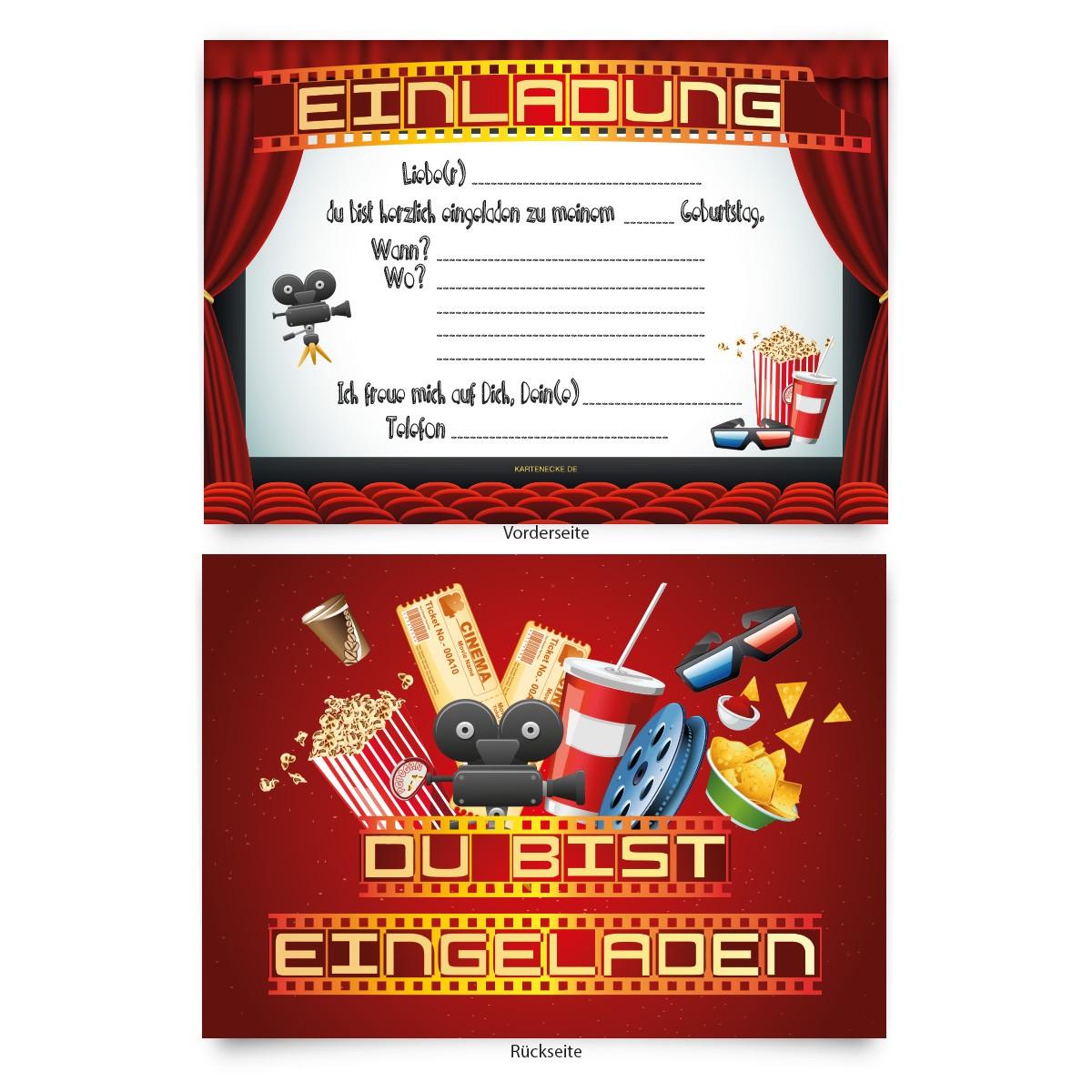 """kino film"""" kindergeburtstag einladungskarten online bestellen, Einladungsentwurf"""