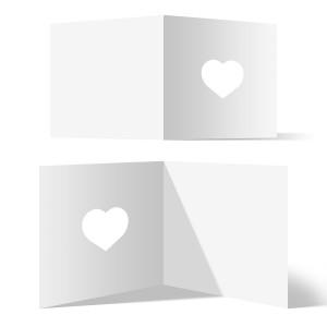 150 x Blanko Herz Klappkarten Quadrat 148x148mm Bilderdruckpapier 300g/qm