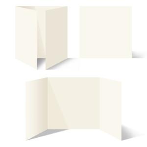 25 x Blanko Klappkarten Altarfalz Quadrat 148x148mm Naturpapier