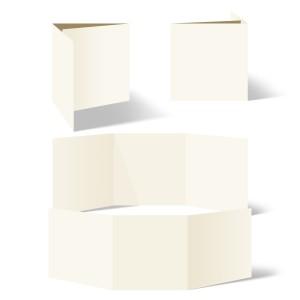 25 x Blanko Klappkarten Wickelfalz Quadrat 148x148mm Naturpapier