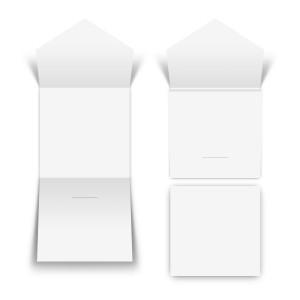100 x Blanko Steckverschluss Klappkarte Quadrat Bilderdruckpapier 300g/qm