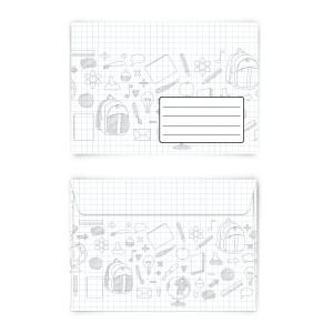 Briefumschläge Kuverts Schule kariert