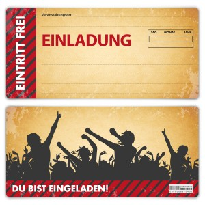 """Einladungen Erwachsene (12 Stück) """"Vintage Ticket"""""""