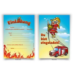 """Einladungen (8 Stück) zum Geburtstag """"Feuerwehr"""""""