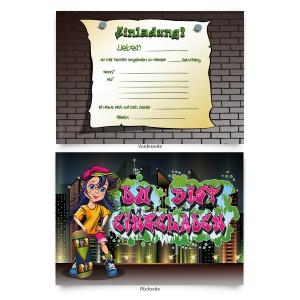 """Einladungen (8 Stück) zum Geburtstag """"Graffiti"""""""
