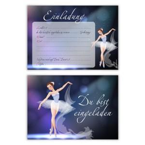 """Einladungen Kindergeburtstag (8 Stück) """"Ballerina"""""""