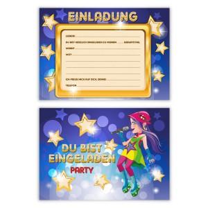 """Einladungen Kindergeburtstag (8 Stück) """"Popstar"""""""