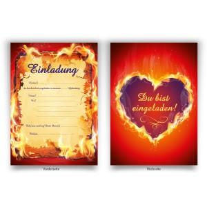 Einladungen brennendes Herz zum Geburtstag