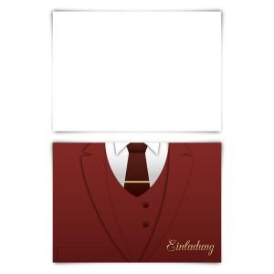 """Einladungskarten (12 Stück) """"Anzug"""" Blanko Rückseite"""
