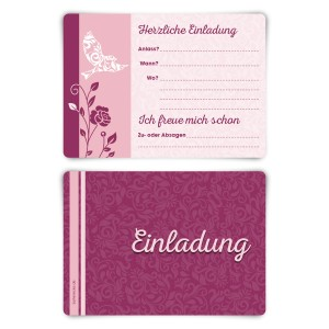 """Einladungskarten (12 Stück) """"Friedenstaube"""" Vorausgefüllt"""