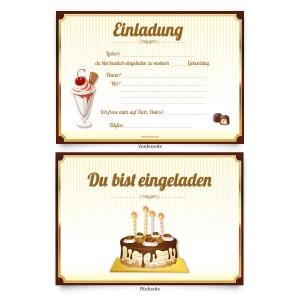 """Einladungskarten zum Geburtstag """"Schoko Torte"""""""
