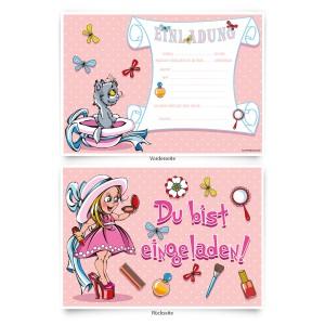 """Einladungskarten (8 Stück) zum Geburtstag """"Schminke"""""""